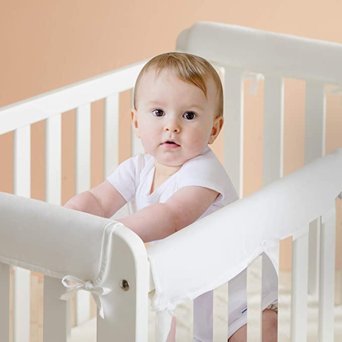 Lavender Baby Crib Rail Cover 3-Piece Padded Protect for Safe Teething Guard Wrap for Standard Cribs 100/% Silky Soft Microfiber Polyester Fits Side and Front Rails