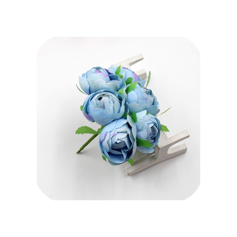 6本/ロット 4cm シルク ローズ つぼみ 造花 ブーケ ウェディング デコレーション DIY リース スクラップブック ギフト ボックス クラフト フラワー One Size ブルー B07QBPJGLY ブルー One Size