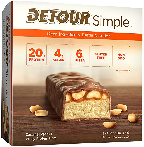 Detour Simple Whey Protein Bar, Caramel Peanut, 2.1 Ounce, 12 Count