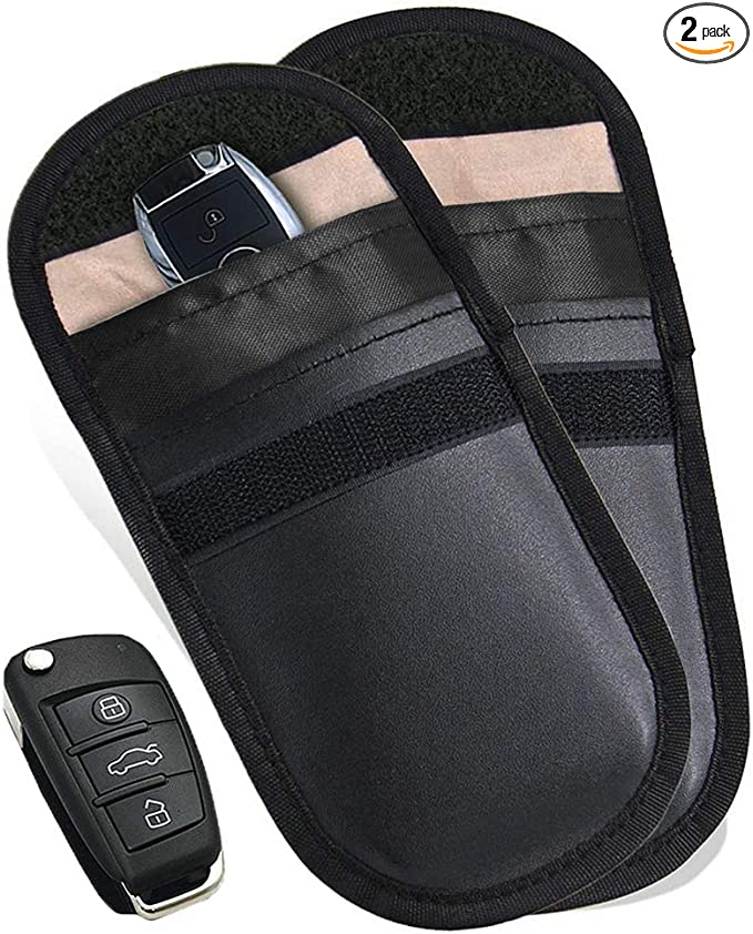 RFID Car Key Fob Protector Keyless Entry Car Keys Case for Car Security Carbon Fibre Anti Theft 2 Pack Faraday Bag for Car Key Signal Blocker Pouch