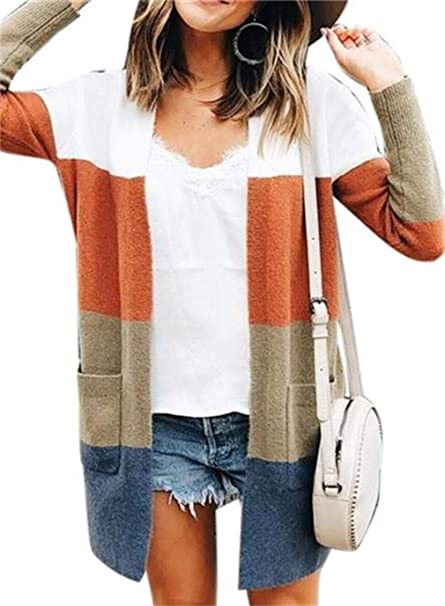 16b35db44ed Symina Women s Long Sleeve Color Block Loose Knit Open Front Cardigan  Sweaters Coats with Pockets
