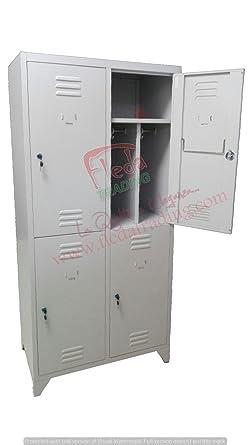 Armadio Spogliatoio In Metallo Usato.Armadio Armadietto Spogliatoio In Metallo 4 Posti Con Divisorio