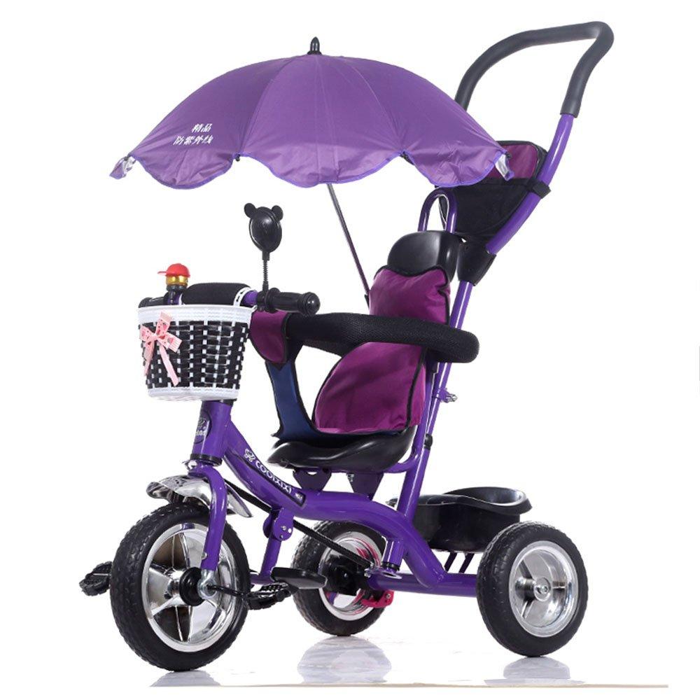 LVZAIXI 3 in 1スマートキッズ三輪車3輪マルチポジションチルドレンベビーライドオントライクバイク三輪車自転車アウト ( 色 : Purple2 ) B07BWB5W7V Purple2 Purple2