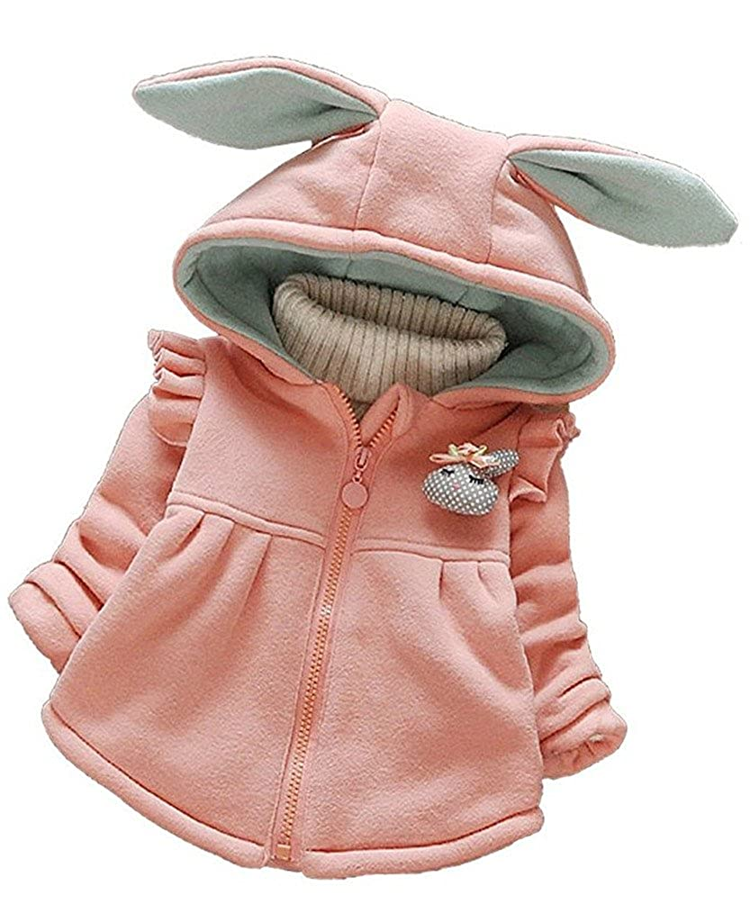 Kids Baby Toddler Girls Winter Rabbit Ears FallZipper Hoodies Coat Jacket Outwear