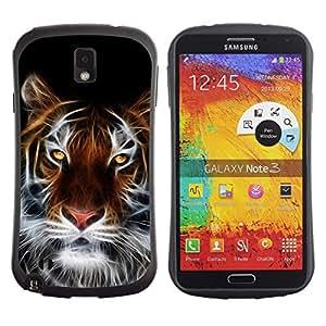 "Pulsar iFace Series Tpu silicona Carcasa Funda Case para Samsung Note 3 , Tigre Grande faceart Yellow Eyes White Cat Bigotes"""