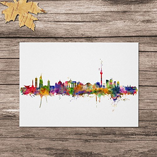 Watercolor Berlin City Poster Skyline Decor Wall Art Germany City Wall Hanging Painting Art Print Berlin Office Poster Unique Present No - Frames Berlin