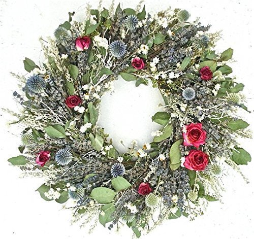 The Gathering Garden Romantic Garden Wreath Handmade in The USA. 20 Inch Not Your Average Wreath! Full of Eucalyptus, and Dried Herbs and Flowers. Echinops pods and Roses are The Main Feature (Dried Floral Wreath)