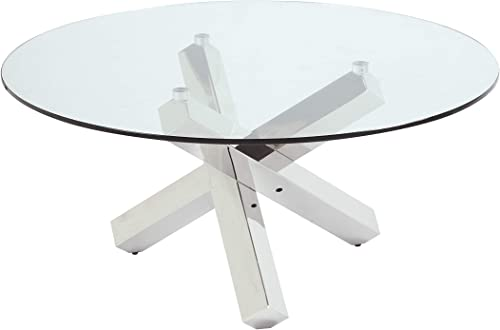 Milan 8009 Round Cocktail Table, 35 , Clear Polished SS