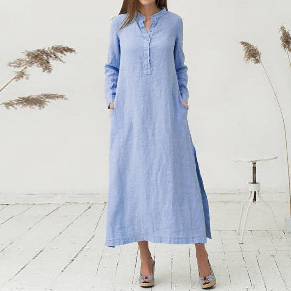 QUINTRA Damen Kaftan Baumwolle Langarm Kleid Plain Casaul Maxi Langes Kleid
