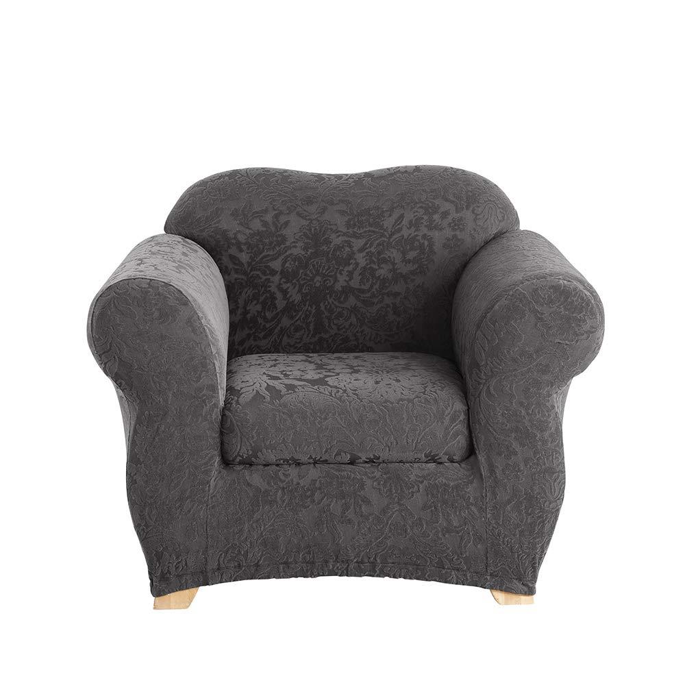 SureFit Stretch Jacquard Damask 2-Piece - Chair Slipcover - Gray