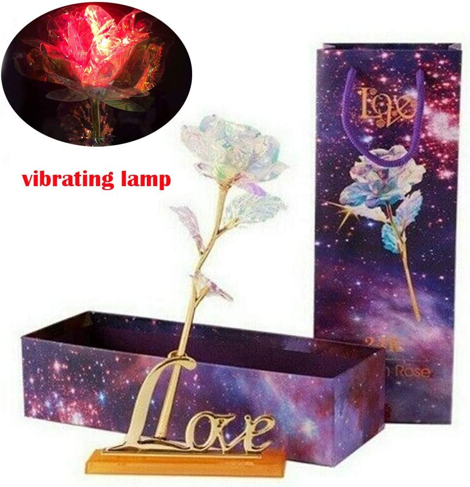 B Rose with Love Base Everlasting Crystal Box Romantic Love Gift for Wife Girlfriend Mom in Valentines Day Anniversary Mothers Day Wedding Birthday Ornament with Gift Box LED Light
