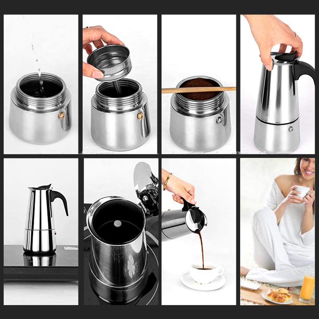 Espresso Kaffeekessel Kaffeemaschine 100 ml//200 ml//300 ml//450 ml 4 tragbar Meatyhjk Edelstahl-Wasserkocher Pro Barista-Topf Kaffeekessel Mokka