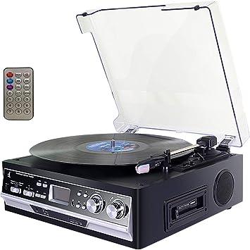 Tocadiscos,Record Player de Vinilo DLITIME con Radio Am&FM/USB/RCA ...