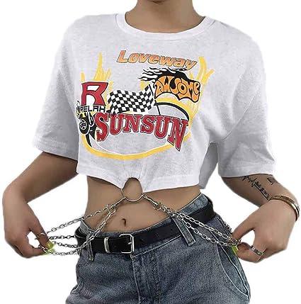 Camiseta de Manga Corta para Mujer con decoración de Cadenas - Navel Exposed - Impresión de Moda: Amazon.es: Ropa y accesorios