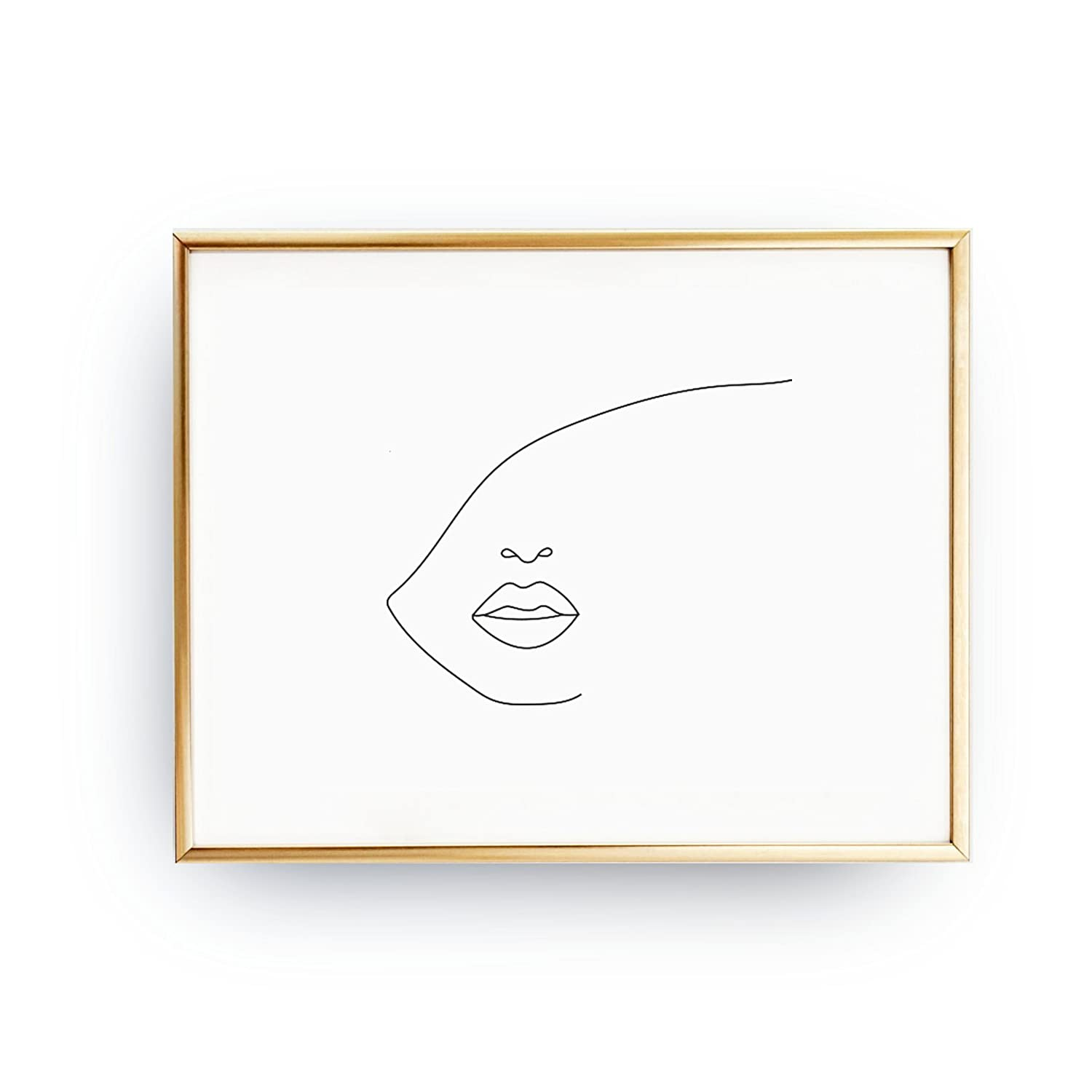 Amazon Com Face Big Lips Black And White Sketch Art