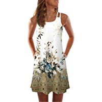 51b05c1f174 Toamen Women s Dress Sale Bohemia Vintage Sleeveless 3D Floral Print Tank  Summer Beach Party Holiday A
