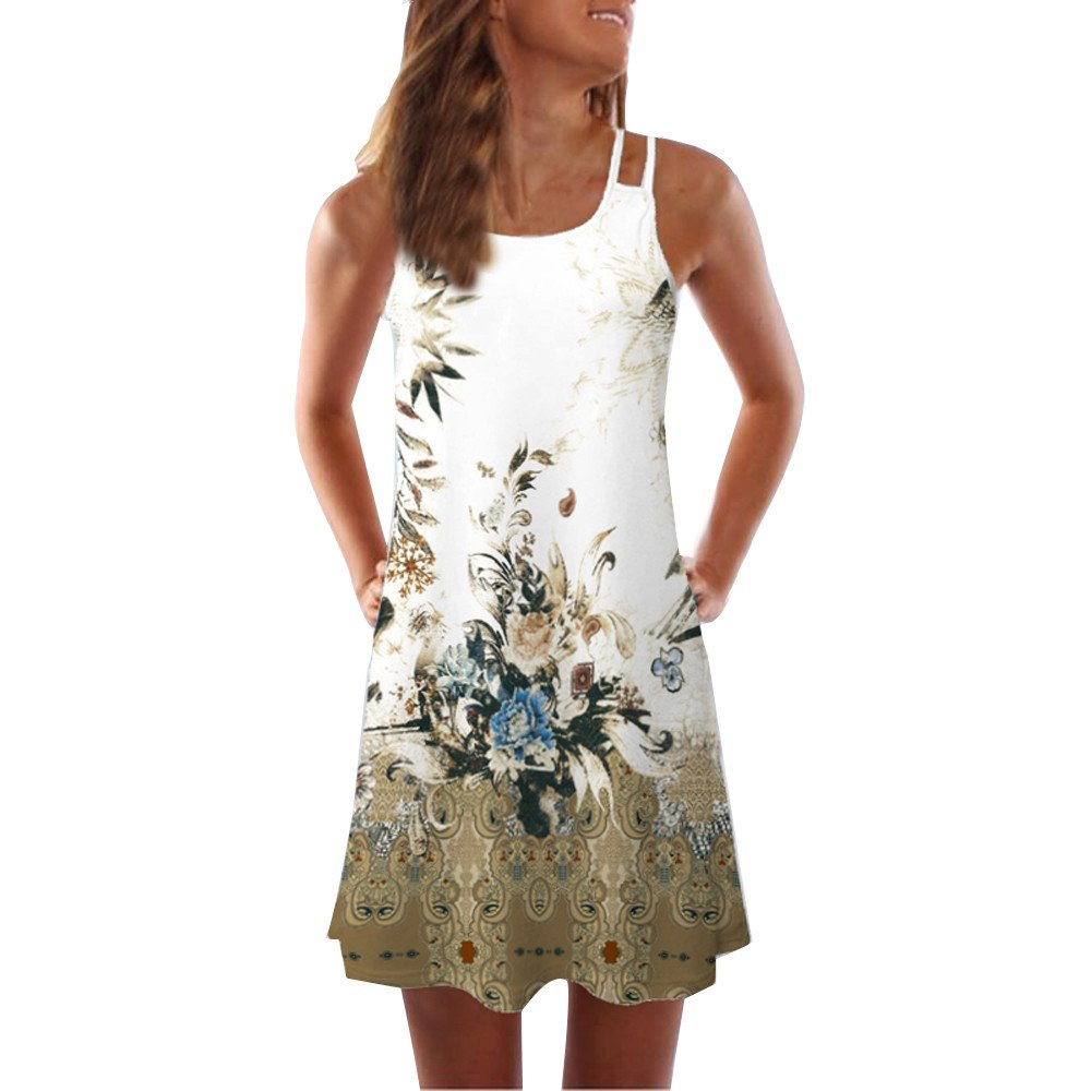 Todaies Women Summer Floral Print Dress, Vintage Sleeveless 3D Bohe Tank Short Mini Dress (2XL, White 1)