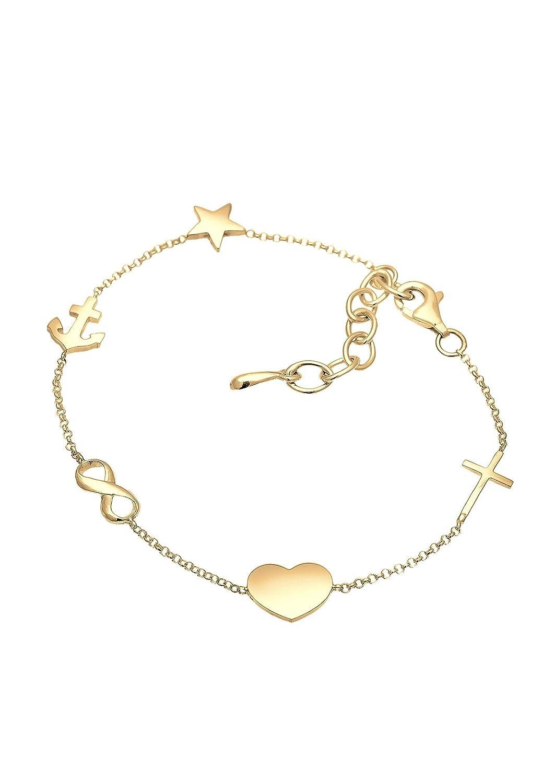 Elli Women Cross Heart Infinity Anchor Star 925 Silver Rose Gold Plated Bracelet yw4L8b