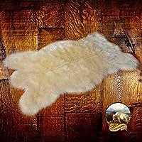 Faux Fur Shag Rug - Off White - Bearskin Pelt - Shaggy Accent - Lodge - Cabin - Faux Sheepskin Area Rug