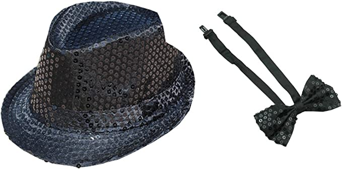 New in Pkg Mini Topper sequin hatband /& wristbands Dance costume onesize top hat