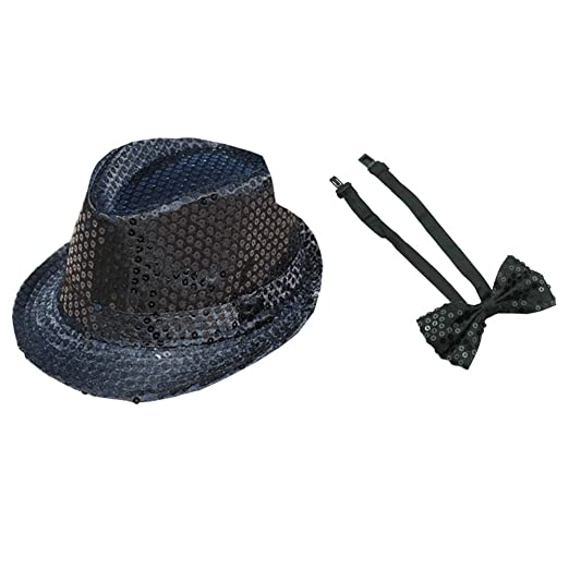 804265a8939c9 Image Unavailable. Image not available for. Color  ZTL Sequins Fedora Hat  and Bow Tie Set Costume Party Accessory for Adults   Kids