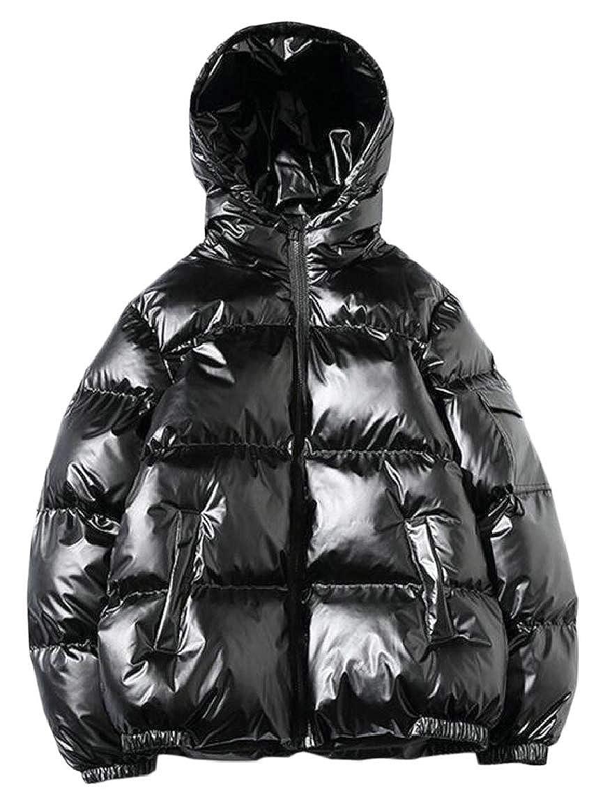 Ptyhk RG Men Warm Jacket Hooded Winter Metallic Coat Parka Overcoat Hoodies