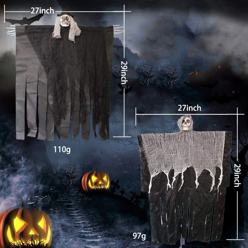 Winjoy 2Pcs Skeleton Ghost Halloween Decoration,Creepy Looking 30 Inch Ghost for Halloween Party Window Decoration /…