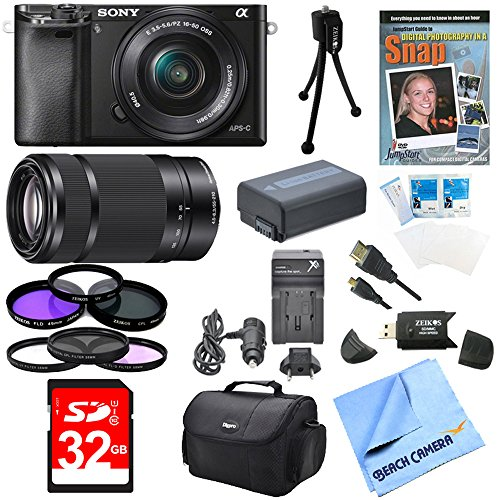 Sony Alpha a6000 24.3MP Interchangeable Lens Camera Bundle with Compact Deluxe Gadget Bag and 16-50mm Power Zoom Lens (19 Items) by Sony