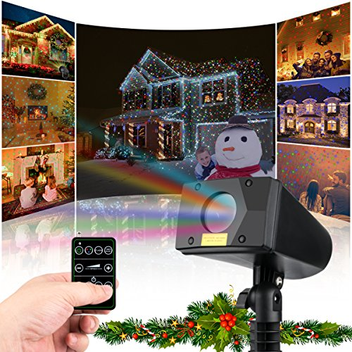 Christmas Laser Lights Outdoor Projector Lights Moving Motion Laser Light Waterpoof Projection Lights with FR remote for Christmas, Holiday, Parties and Garden Indoor Decoration (7 Colors)