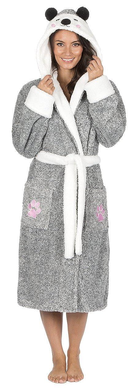 Damen Luxus Vlies Morgenmantel Tier Teddybär Neuheit Kapuzen Robe Loungewear Graue oder Beige - Größe EUR 36 bis 50