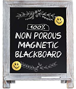 "Magnetic Chalkboard Sign, 15""x12"" Rustic Chalk Board Easel for Menu Kitchen Wedding Home Décor, Standing Wood Framed Blackboard with Chalk Marker and Emoji Magnets, Tabletop or Wall Hanging Display"