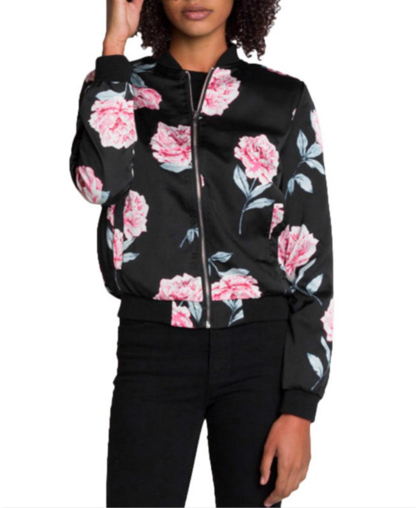 Mojessy Women's Floral Print Classic Bomber Jacket Fall Biker Baseball Jacket Short Coat with Pockets Black XXL