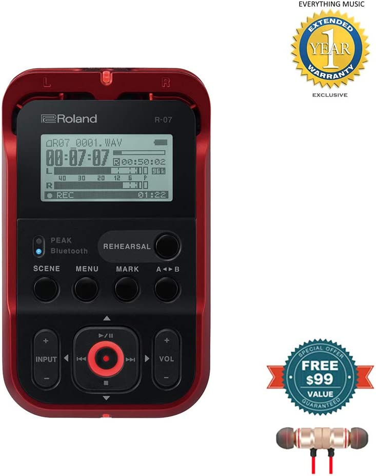 Stereo Bluetooth In-ear and 1 Year Everything Music Extended Warranty includes Free Wireless Earbuds Roland High-Resolution Handheld Audio Recorder Red R-07-RD