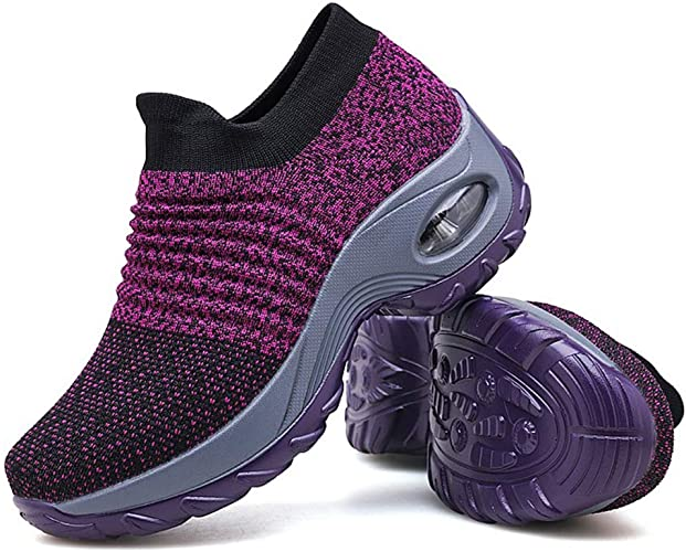 Belilent Womens Walking Shoes Slip On Sock Sneakers Hiking Running Shoes Lightweight Mesh Loafers with Air Cushion