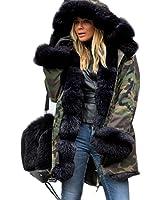 Roiii Women Winter Warm Faux Fur Long Sleeve Hooded Jacket Coat