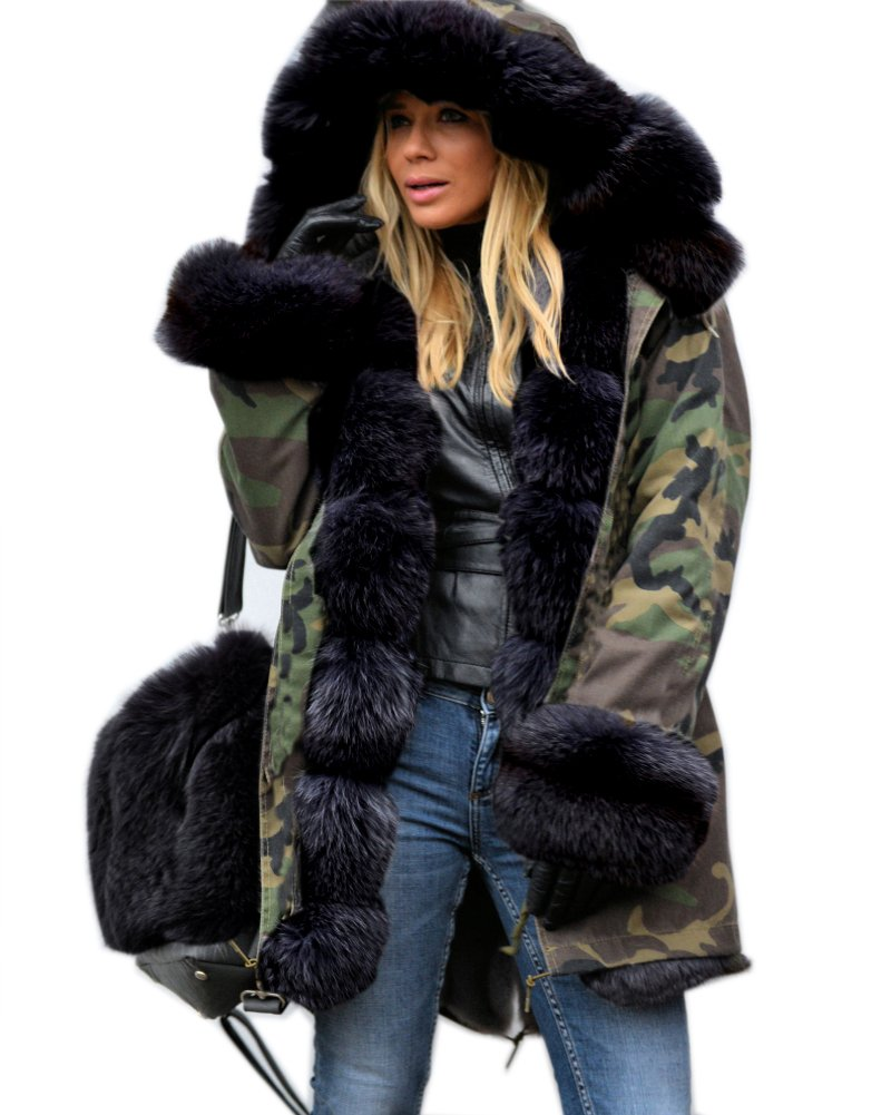 Roiii Women's Faux Fur Hooded Cotton Padded Sweaters Parka Coat Long Jacket Tops (XX-Large, Army Green)