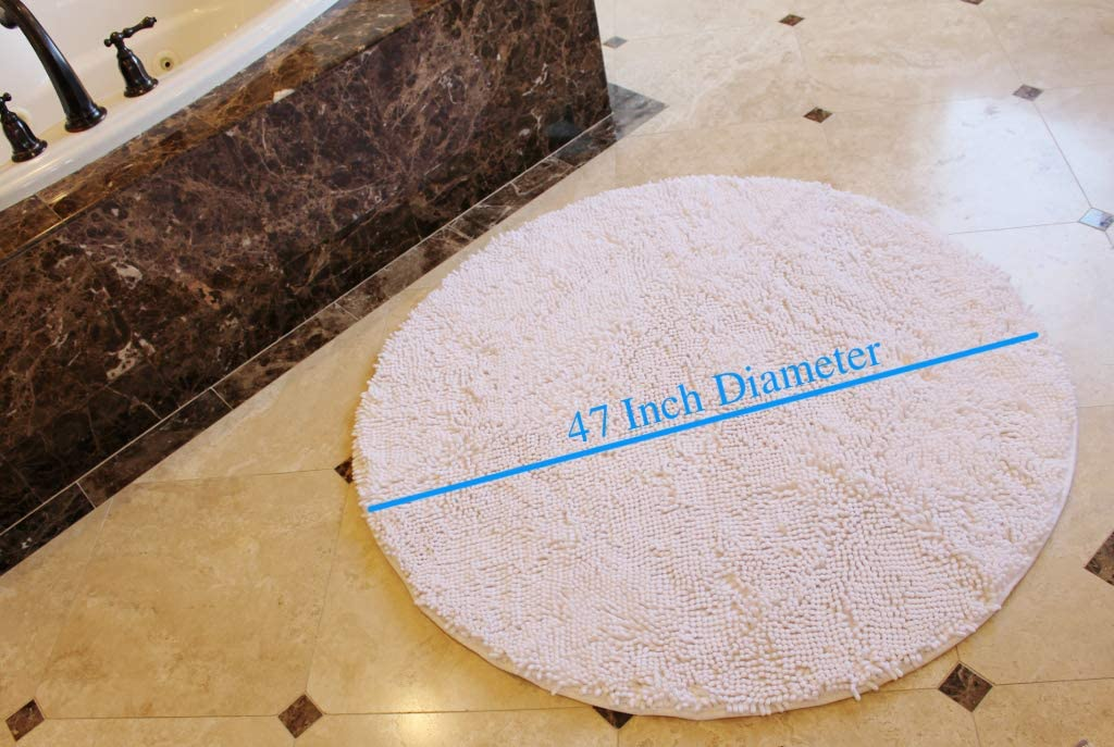 Masada Rugs Black Bath Mat Rug Shag Non Slip Ultra Plush Microfiber Chenille Highly Water Absorbent Durable and Washable for Bathroom. 4 Feet Round, Black