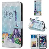 for iPhone 6 Plus/6S Plus Wallet Case and Screen Protector,QFFUN Glitter 3D Pattern Design [Tower] Magnetic Stand…