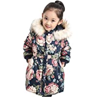 Mornyray Little Girls Medium Down Coat Jacket Floral Printed Zipper Hoodie Outerwear