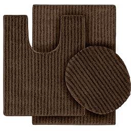 Garland Rug 3-Piece Sheridan Nylon Washable Bathroom Rug Set, Chocolate