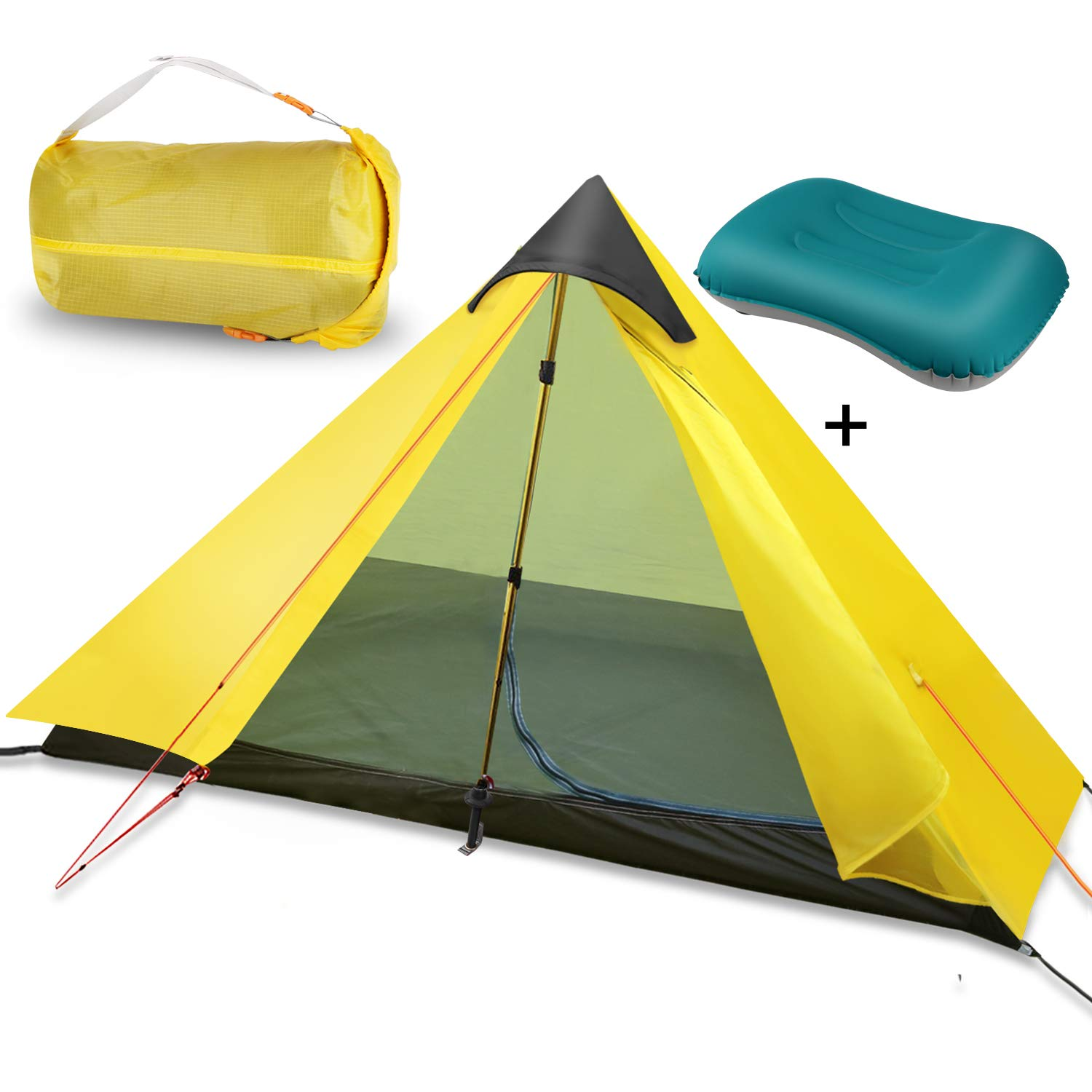 OLUNNA 1-Person Tent Backpacking with 1 Pack Inflatable Camping Pillow, Lightweight Tent Waterproof with Double Layer for Mountaineering, Hiking, Camping, Climbing Trekking Pole is NOT Included