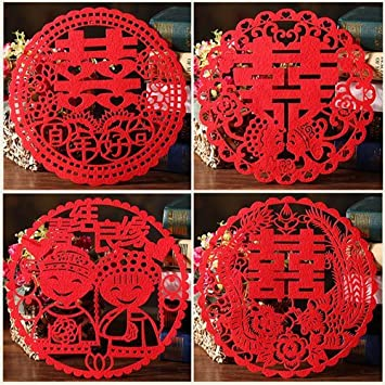 Amazon chris wang 4pairs traditional chinese wedding banquet chris wang 4pairs traditional chinese wedding banquet red nonwovens double happiness xi paper cut junglespirit Images