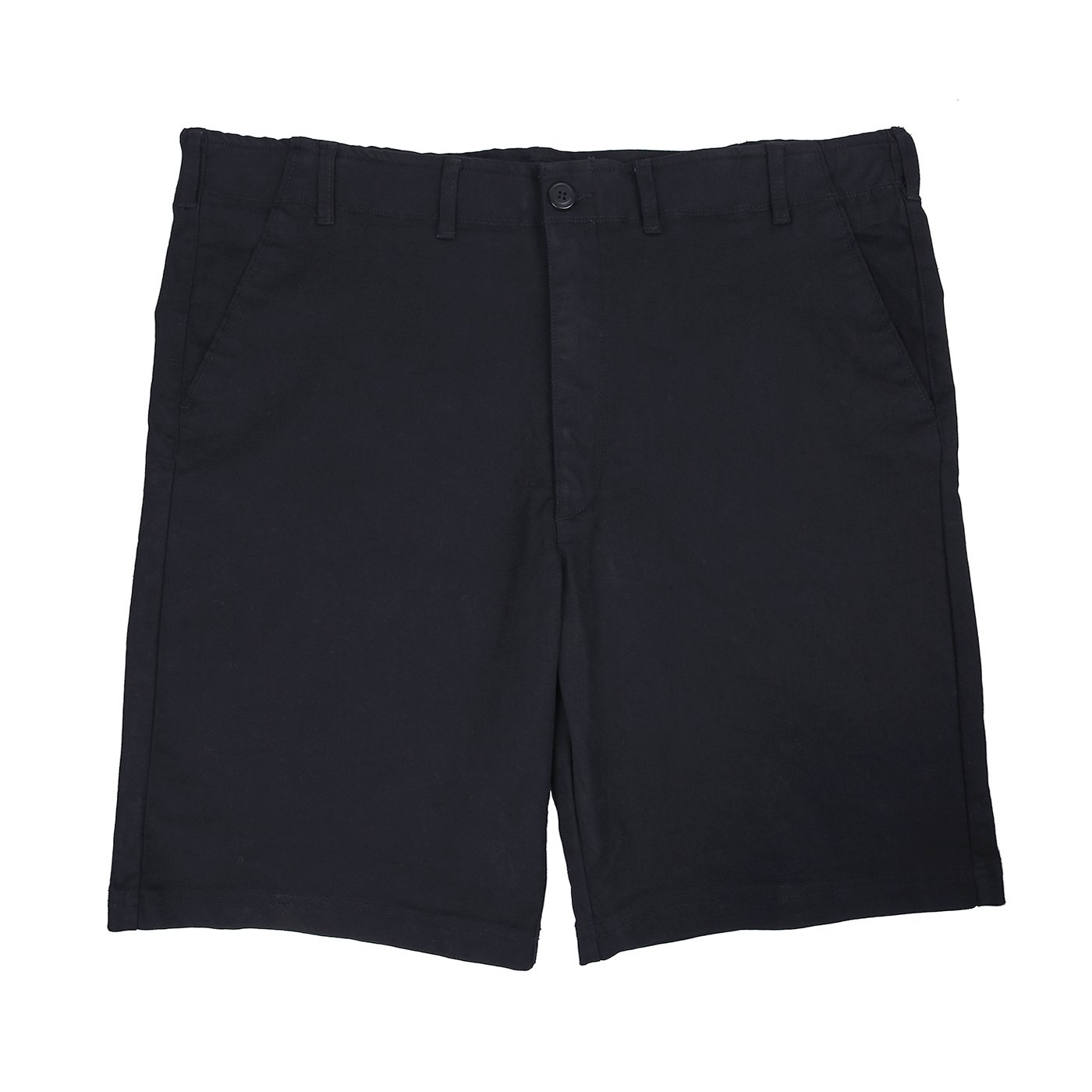 HDE Mens Big and Tall Shorts Comfort Waist Classic Fit Twill Cotton Blend Chino (Black, 46)