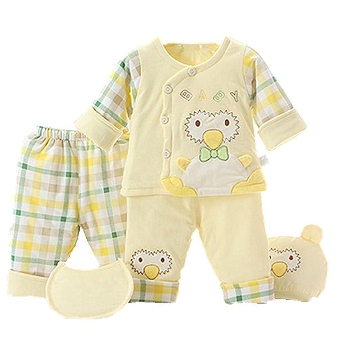 Pijamas de bebé, Chickwin 5pcs Puros cálidos de algodón otoño e invierno y niños pequeños