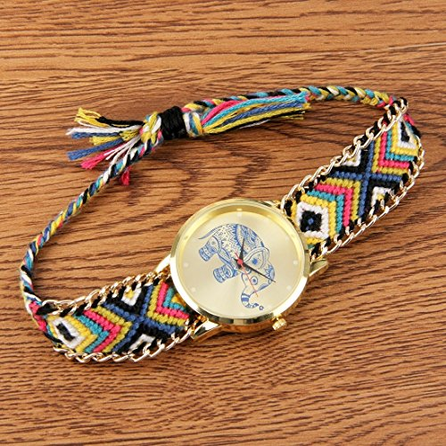 Round Dial Elephant Pattern Fashion Women Quartz Watch With Colorful Hand-woven Rope Band (SKU : S-WA-0622A) by Dig dog bone (Image #2)