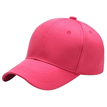 M-Egal Men Women Summer Canvas Baseball Cap Plain Hat Casual Hip Hop Cap  Sun Hat Light red 56-60cm 46afb6c58287