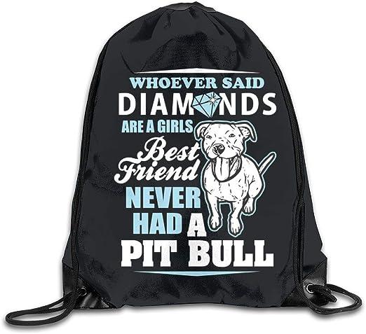 Drawstring Backpack Cartoon Pit Bull Rucksack