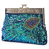 Kisschic Vintage Beaded Sequin Peacock Clutch Purse Evening Bags (Blue)