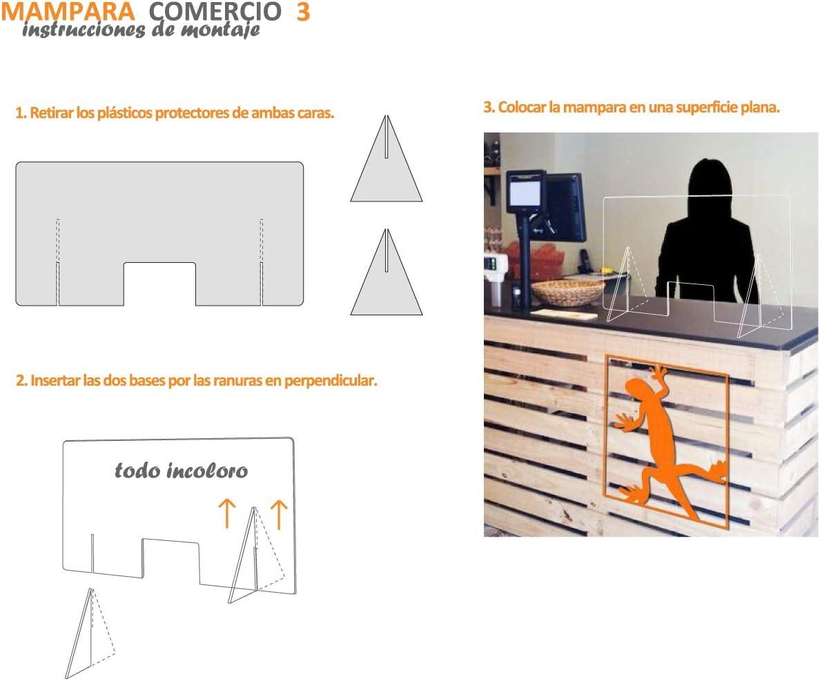 Mampara transparente anti contagio y protección de 100 x 50 cm, separador para mostrador, mesas, oficinas y comercios: Amazon.es: Oficina y papelería