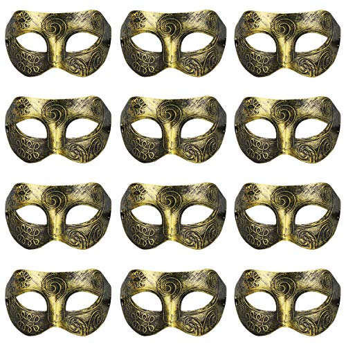 12PCS Mardi Gras Mask Masquerade Mask Vintage Plastic Venetian Halloween Party -